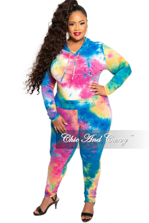 New Plus Size Hooded Pull Over Top and Pants Set in Multi Color Tie Dye Print