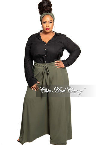 New Plus Size Exclusive Faux Wrap Jumpsuit with Bell Sleeves in Olive