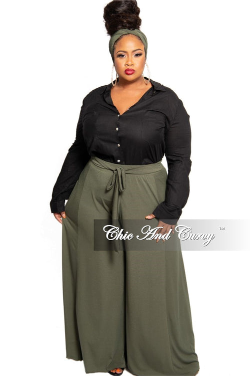 New Plus Size Exclusive Palazzo Pants or Pants/Scarf Set in Olive