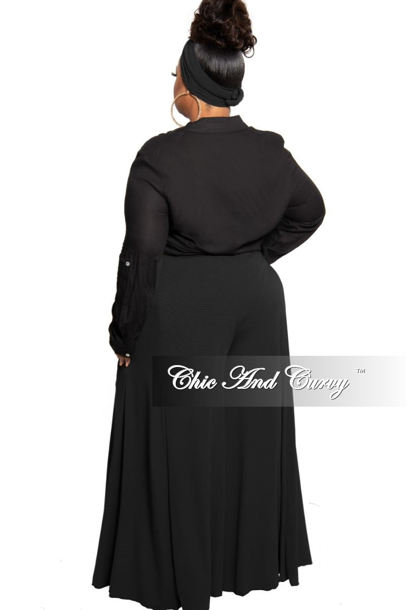 New Plus Size Exclusive Palazzo Pants or Pants/Scarf Set in Black