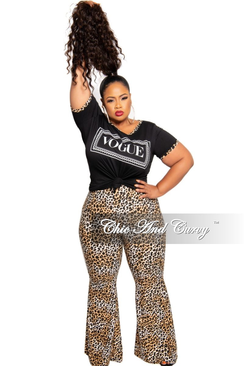 New Plus Size 2-Piece Vogue Top and Bell Bottom Pants Set in Black Animal Print