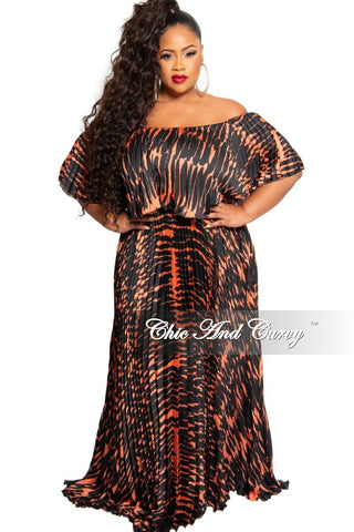 New Plus Size Long Sleeve V-Neck Maxi in Magenta Multi Color Print