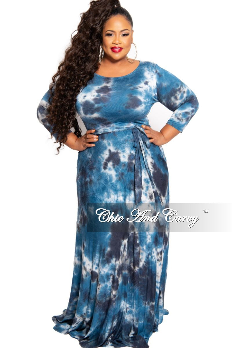 New Plus Size 3/4 Sleeve Pocket Maxi with Tie in Royal Blue Navy and White Tie Dye Print