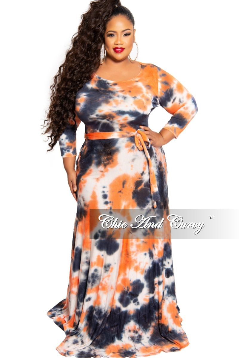 New Plus Size Long Pocket Dress with 3/4 Sleeve and Tie in Orange Navy and White Tie Dye Print