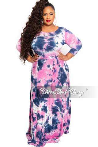 Final Sale Plus Size Faux Wrap Maxi with Attached Tie and Front Slit in Green Red and Royal Blue Leaf Print