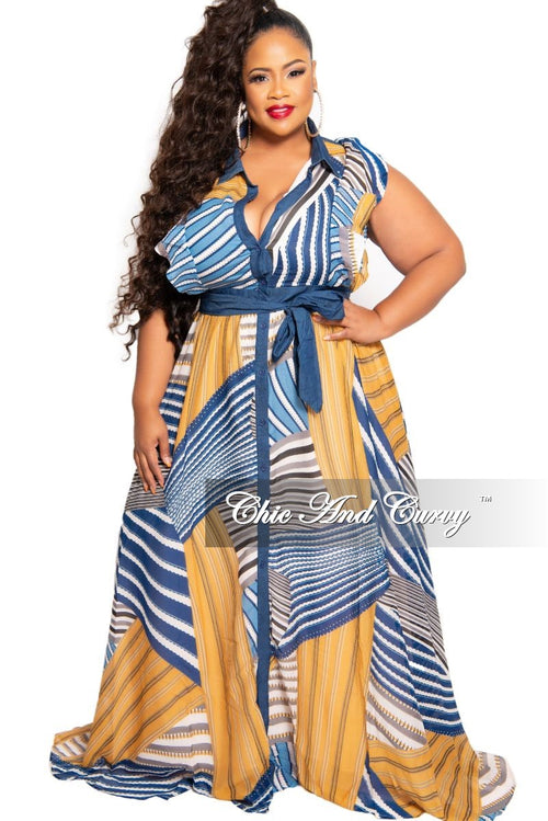 Final Sale Plus Size Chiffon and Denim Button Dress in Mustard Blue Design Print