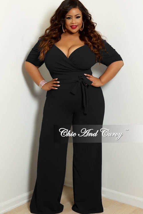 New Plus Size Faux Wrap Jumpsuit with Puff Sleeves and Attached Tie in Black