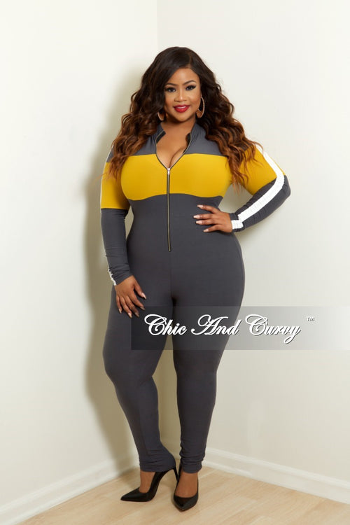 New Plus Size Long Sleeve Zip-Up Jumpsuit in Grey Mustard and White