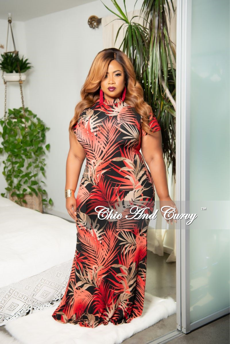 New Plus Size Mock Neck Maxi Dress in Red Black Tan Tropical Print