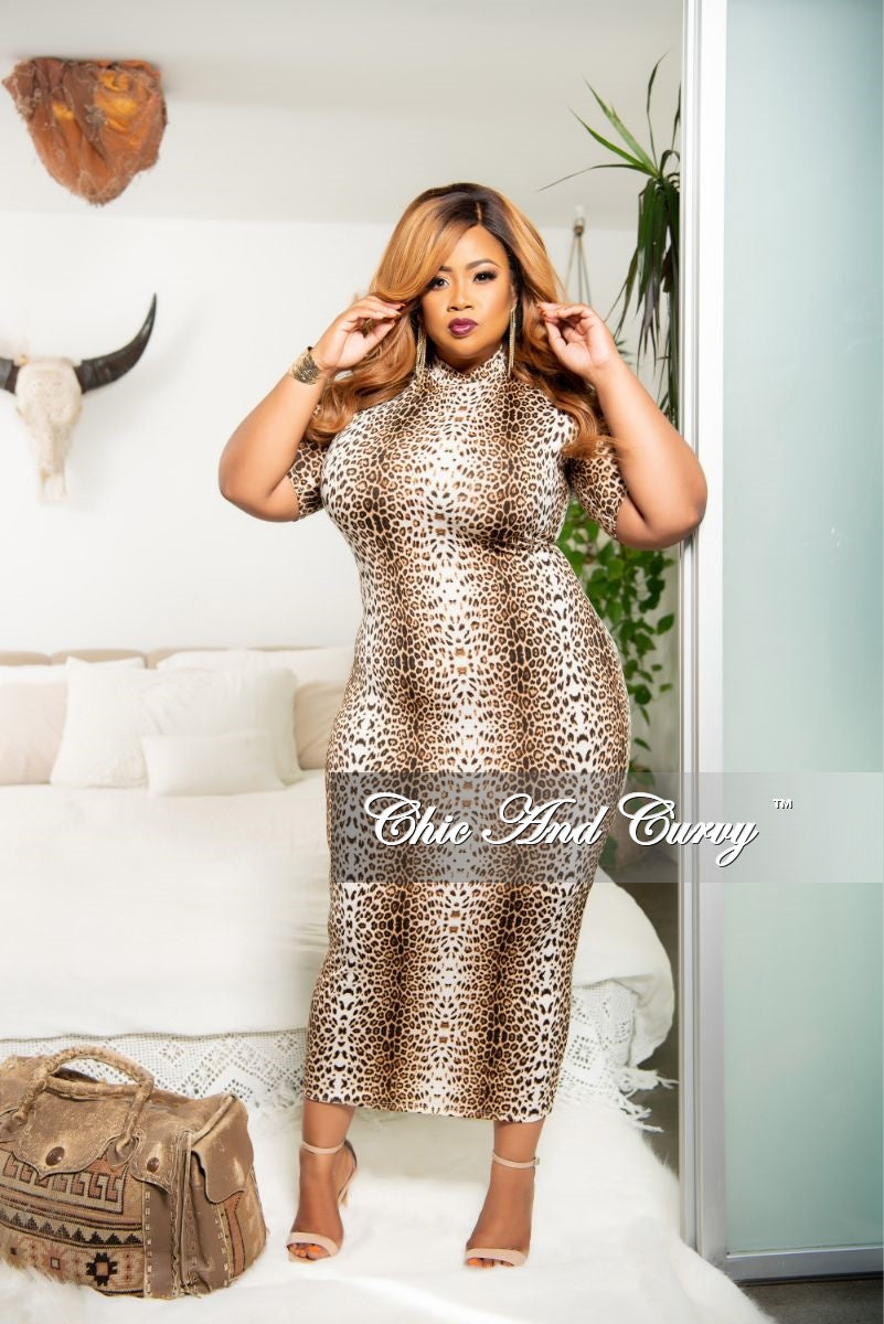 New Plus Size Reversible BodyCon Dress in Animal Print