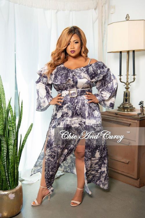 Final Sale Plus Size One Strap Off the Shoulder Double Split Ruffle Dress in Blue Water Print