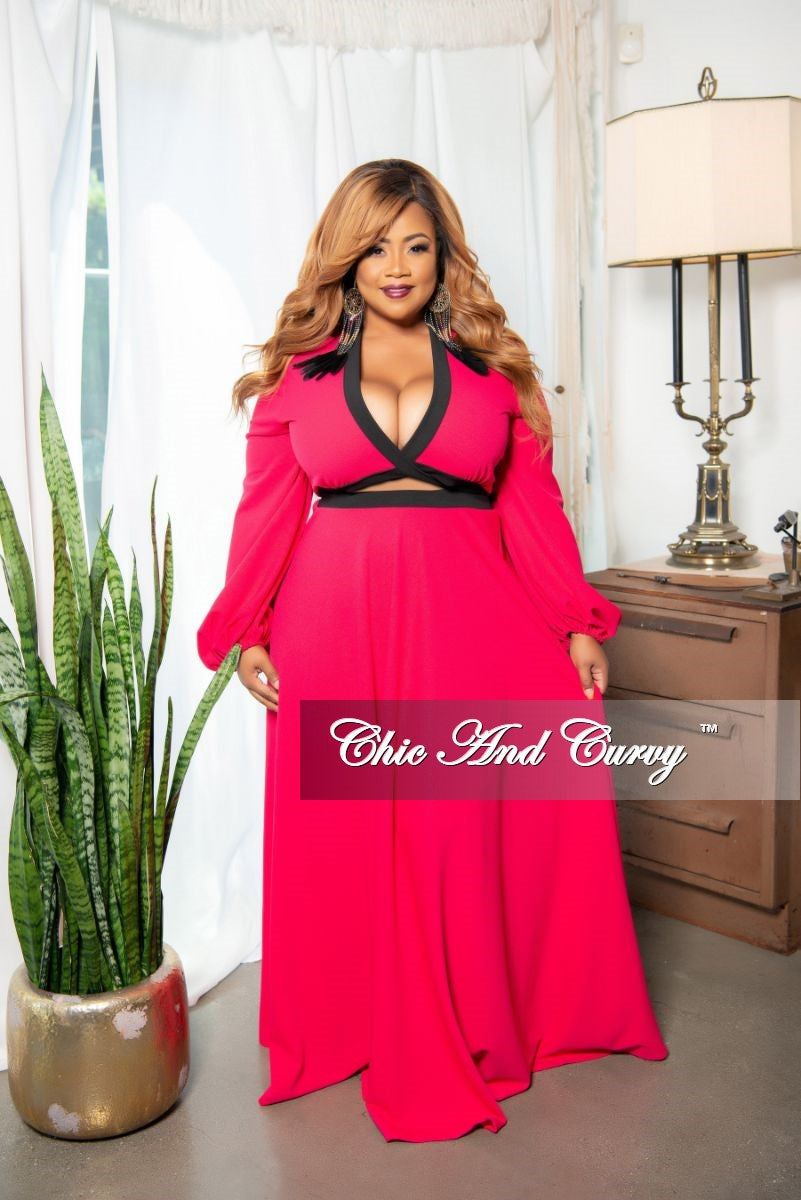 New Plus Size 2-Piece Faux Wrap Bow Tie Top and Maxi Skirt Set in Magenta with Black Trim