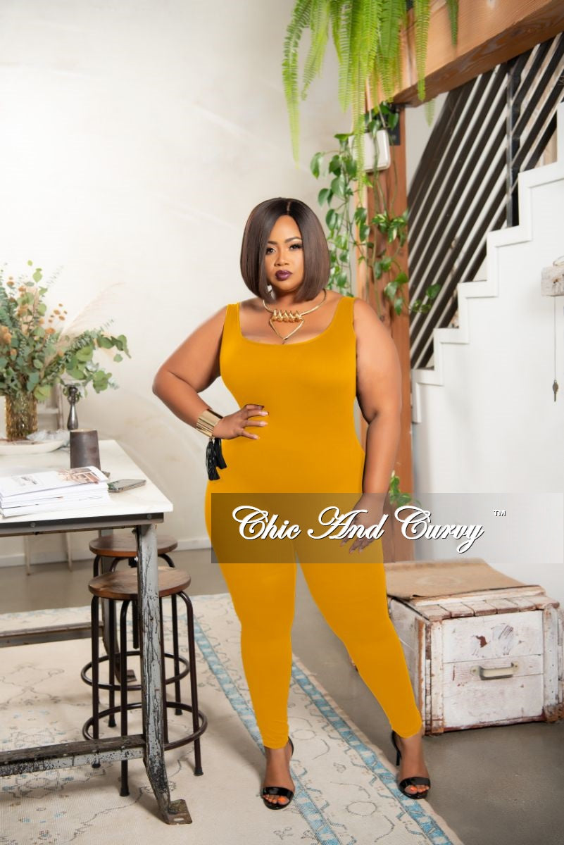 Final Sale Plus Size Tank Strap Unitard in Mustard