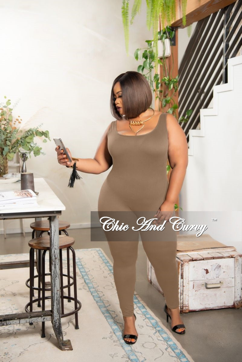 Final Sale Plus Size Tank Strap Unitard in Taupe