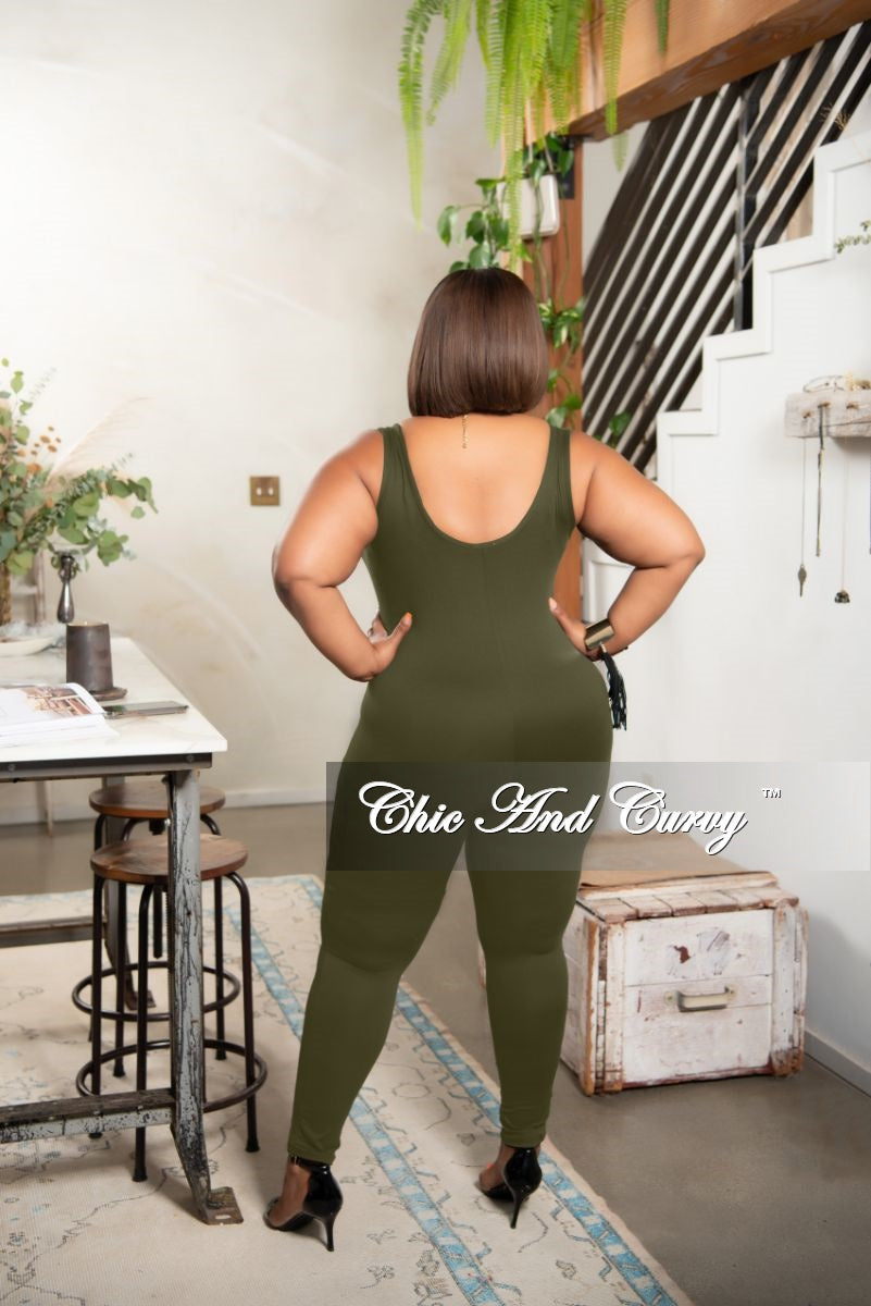 Final Sale Plus Size Tank Strap Unitard in Olive