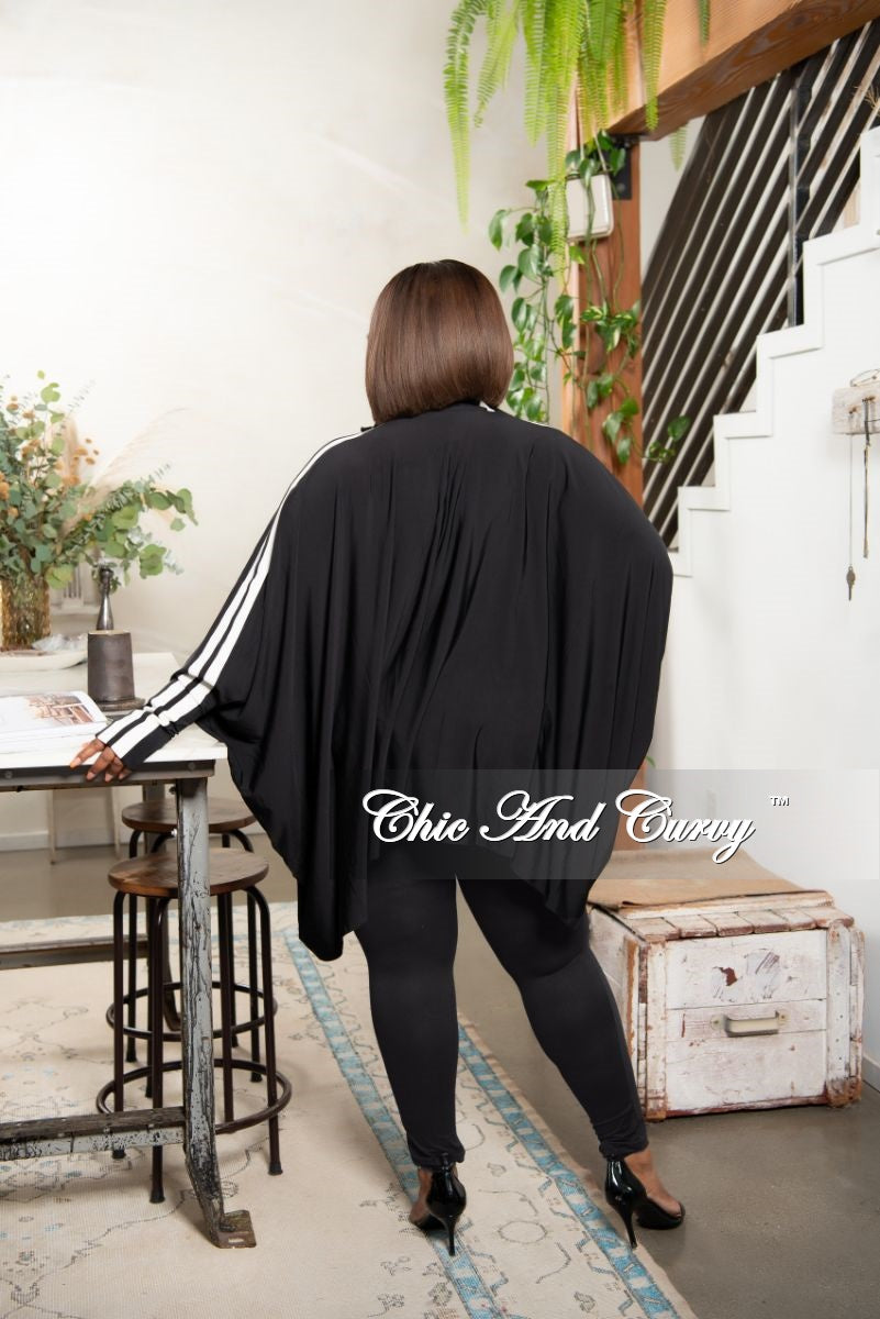 New Plus Size Sporty Zip High-Low Pocket Tunic/Dress in Black with White Striped Sleeves