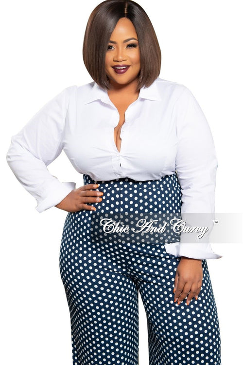 Final Sale Plus Size Collared Button Cuff Sleeve Blouse in White