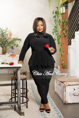 New Plus Size Exclusive Mock Neck Peplum Tie Top and Pants Set in Black