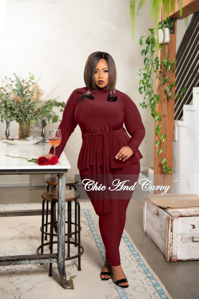 New Plus Size Exclusive Mock Neck Peplum Tie Top and Pants Set in Burgundy