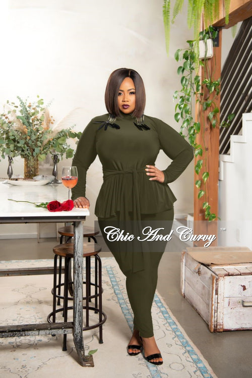 New Plus Size Exclusive Mock Neck Peplum Tie Top and Pants Set in Olive