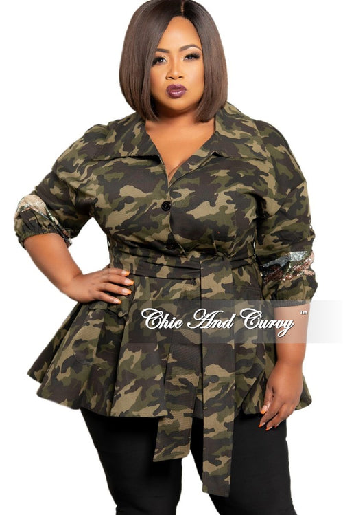 New Plus Size Sequin Peplum Jacket with Tie in Camouflage Print