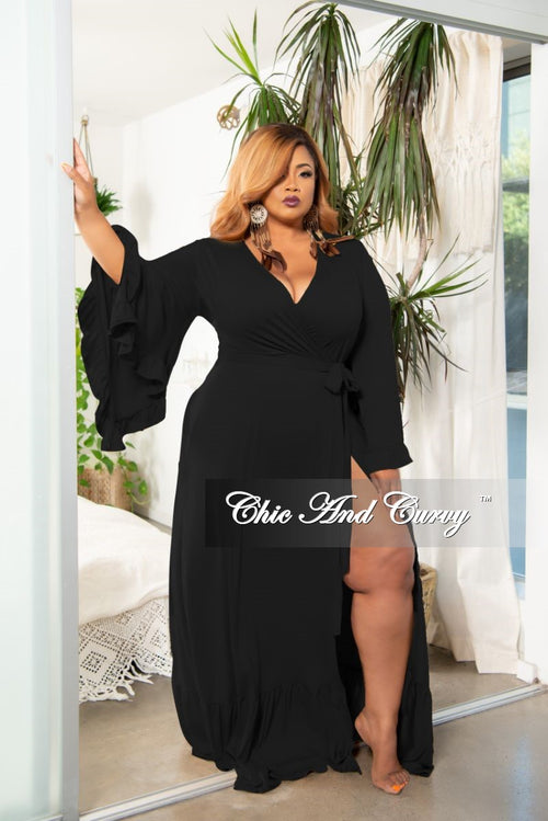 New Plus Size Exclusive Bell Sleeve Wrap Maxi in Black