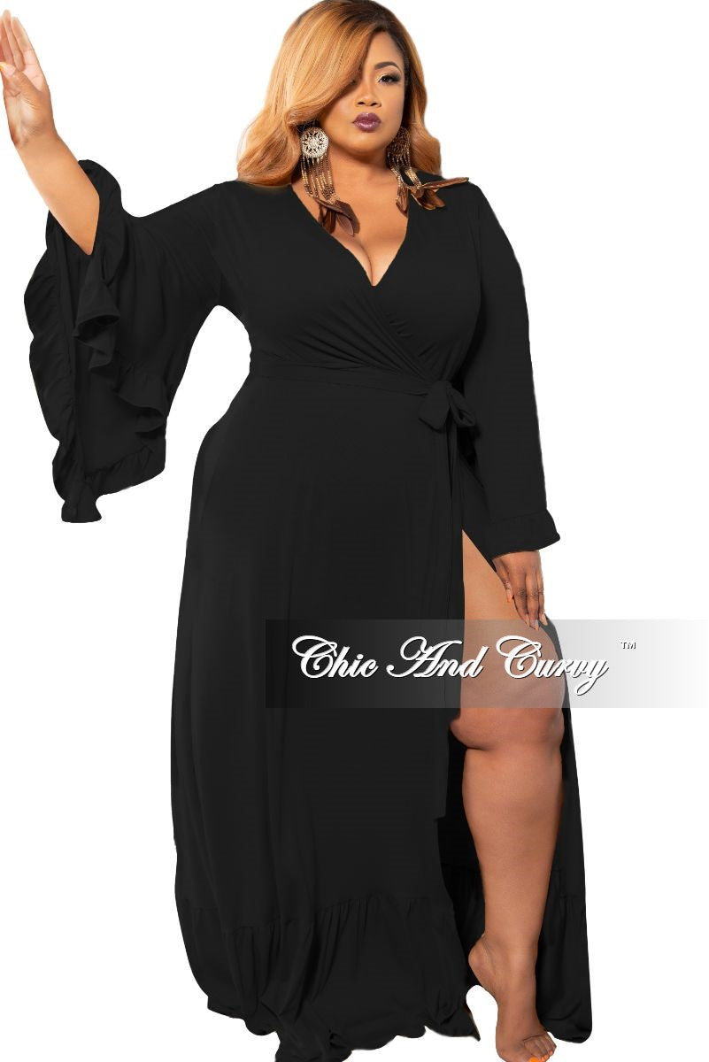 Final Sale Plus Size Exclusive Bell Sleeve Wrap Maxi in Black