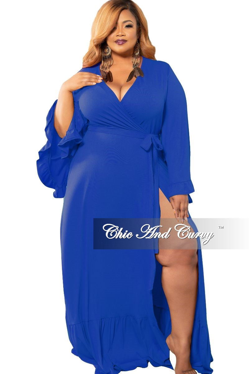 New Plus Size Exclusive Bell Sleeve Wrap Maxi in Royal Blue