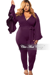 New Plus Size Exclusive Faux Wrap Jumpsuit with Bell Sleeves in Plum