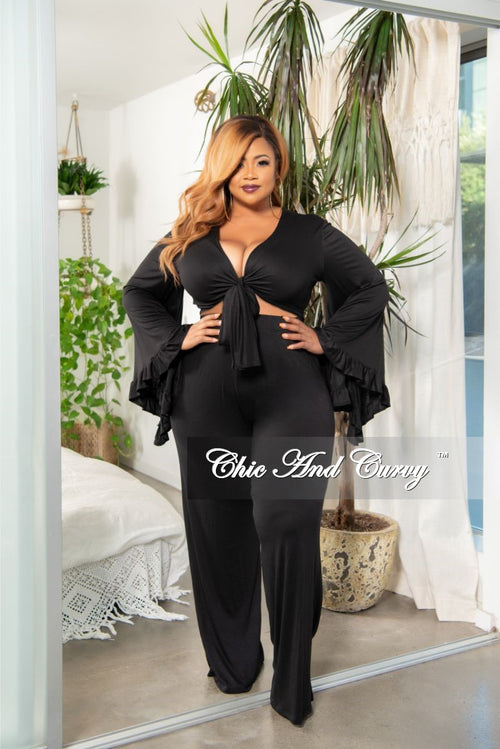 New Plus Size Ruffle Crop Top and High Waist Pocket Pants Set in Black