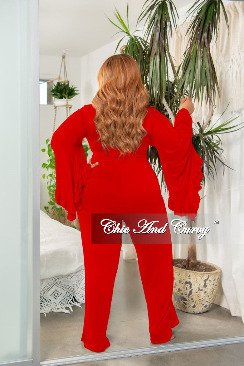 New Plus Size Ruffle Crop Top and High Waist Pocket Pants Set in Red