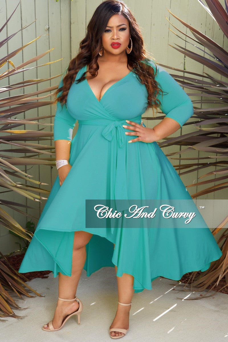 New Plus Size Faux Wrap High-Low Dress with Attached Tie in Hunter ...