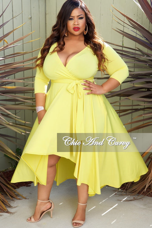 New Plus Size Faux Wrap High-Low Dress with Attached Tie in Yellow