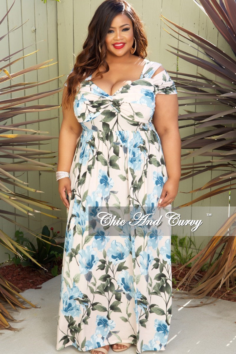 Final Sale Plus Size Off the Shoulder Dress in Mauve, Blue and Green Floral Print