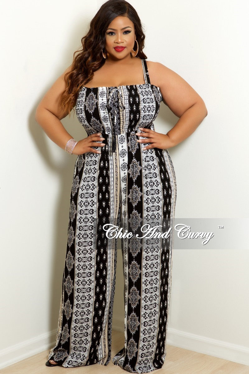 Final Sale Plus Size Spaghetti Strap Jumpsuit with Wide Legs in Beige, Black and White Design Print