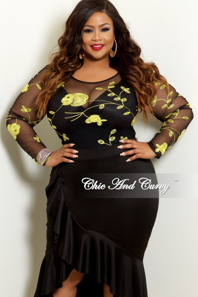 Final Sale Plus Size Mesh Bodysuit in Black with Yellow Rose Embroidery (Top Only)