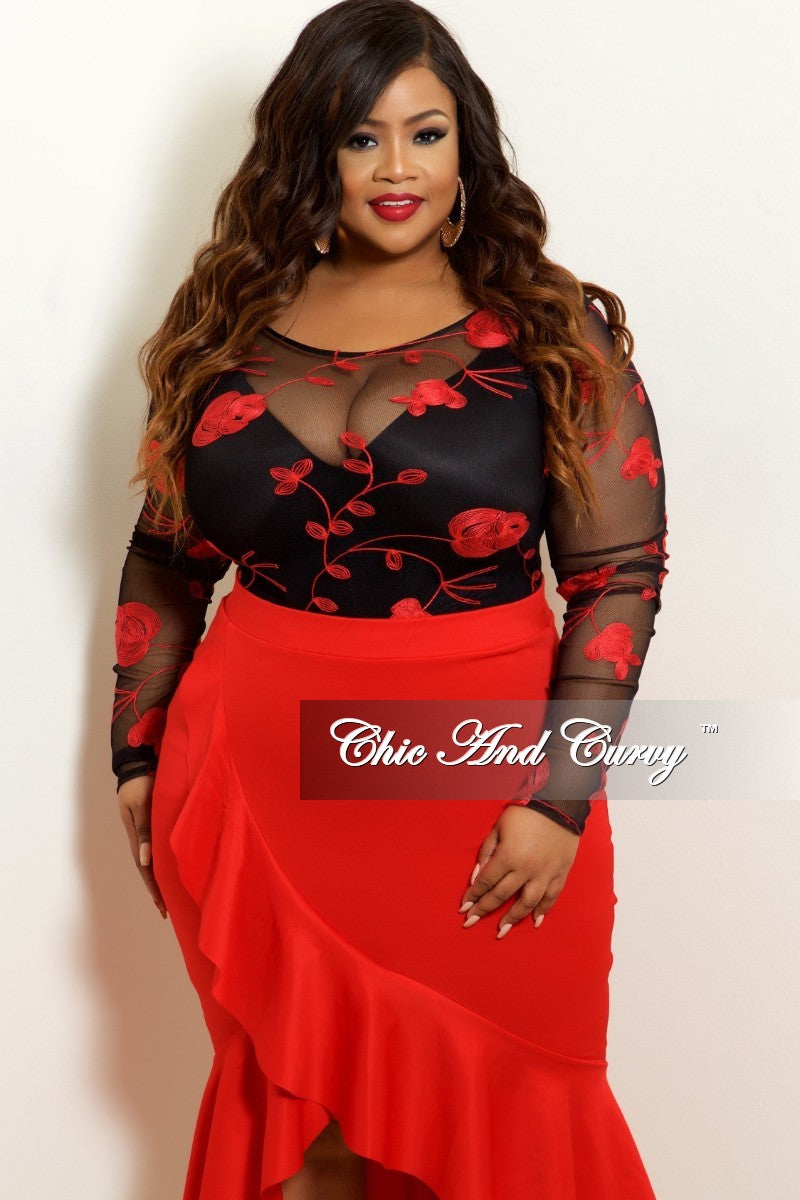 Final Sale Plus Size Mesh Bodysuit in Black with Red Rose Embroidery (Top Only)