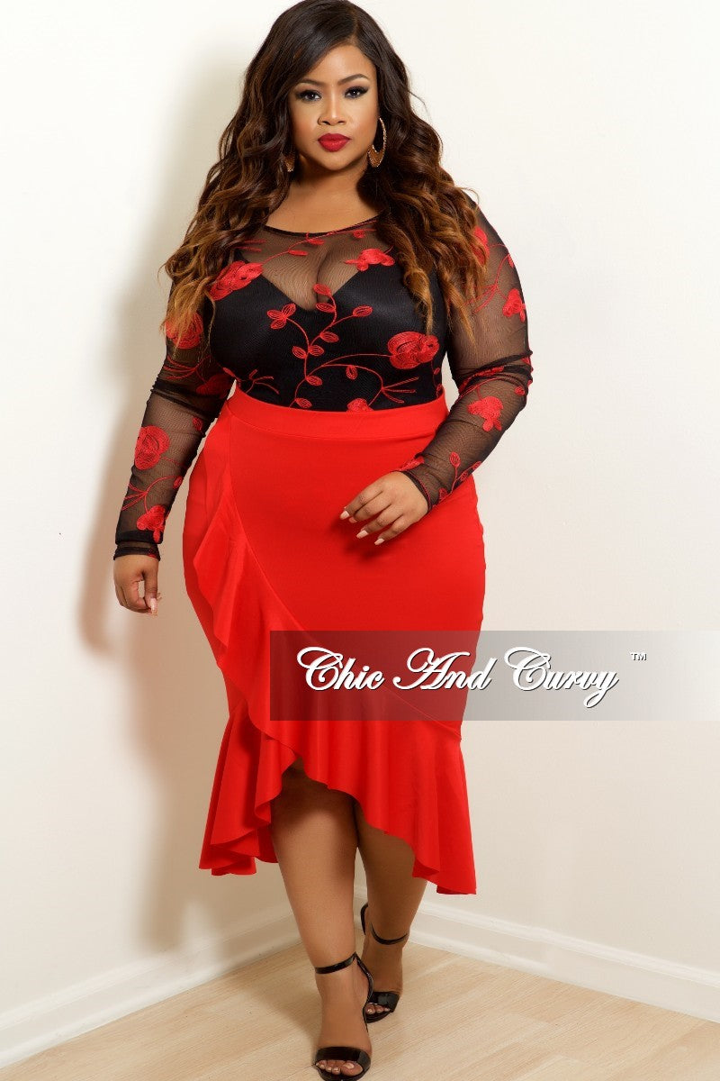 New Plus Size Ruffle Skirt in Red