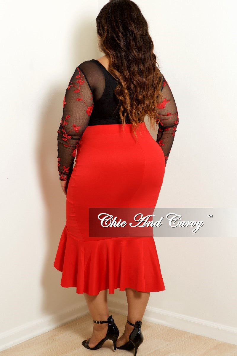 35% Off Sale - Final Sale Plus Size Mesh Bodysuit in Black with Red Rose Embroidery (Top Only)