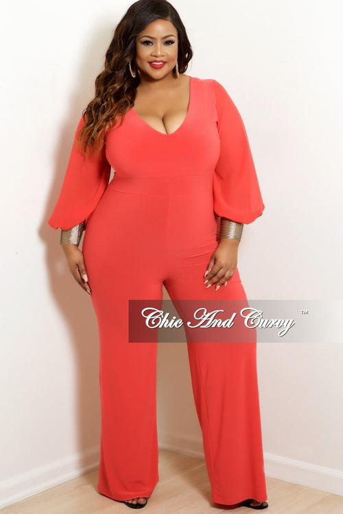 Final Sale Plus Size Chiffon Sleeve V-Neck Jumpsuit with Gold Cuffs in Dark Coral