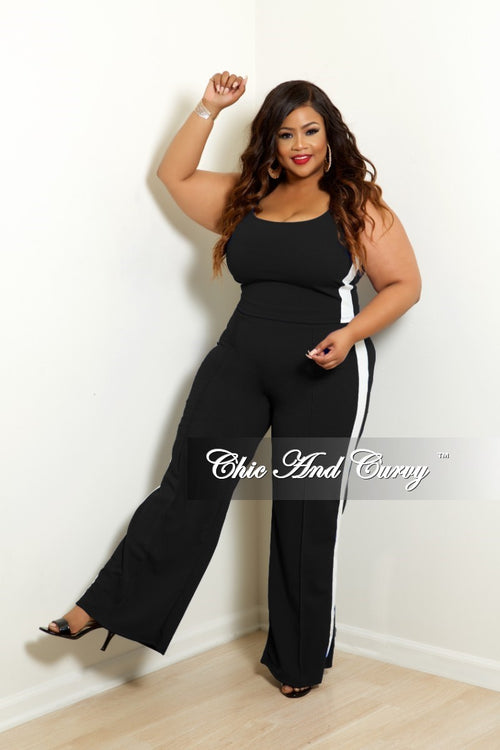 New Plus 2-Piece Spaghetti Strap Crop Top and Wide Leg Pants Set in Black with Off White Trim