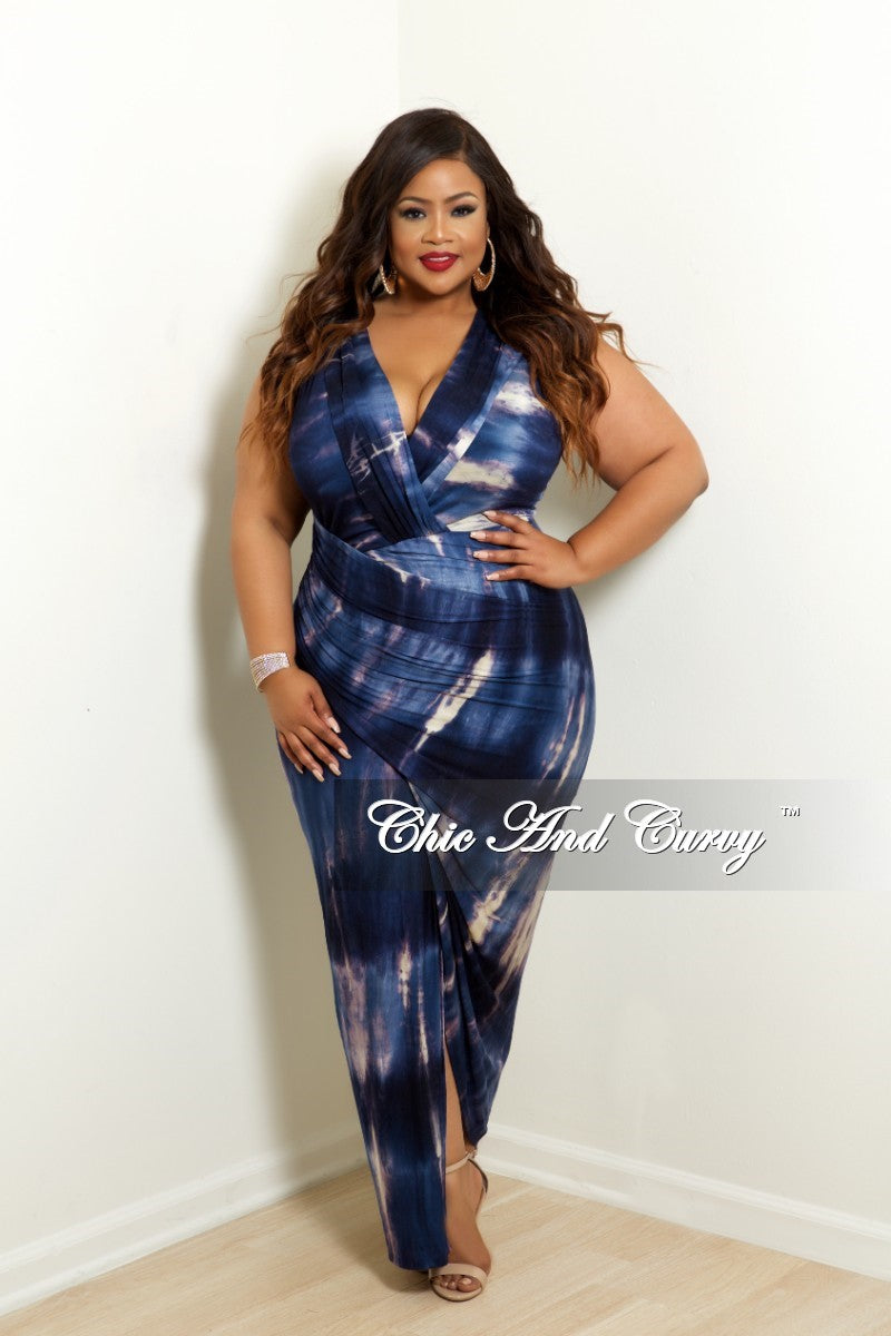 New Plus Size BodyCon Dress with Front Wrap Ruching in Navy Tie Dye