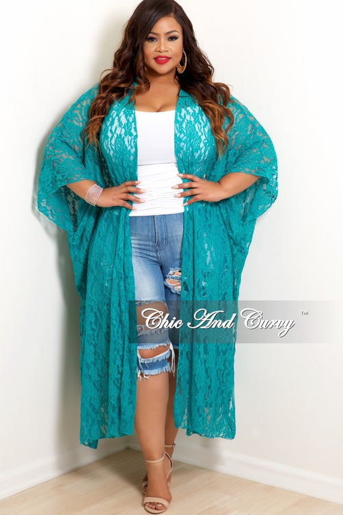 Final Sale Plus Size Lace Duster in Turquoise