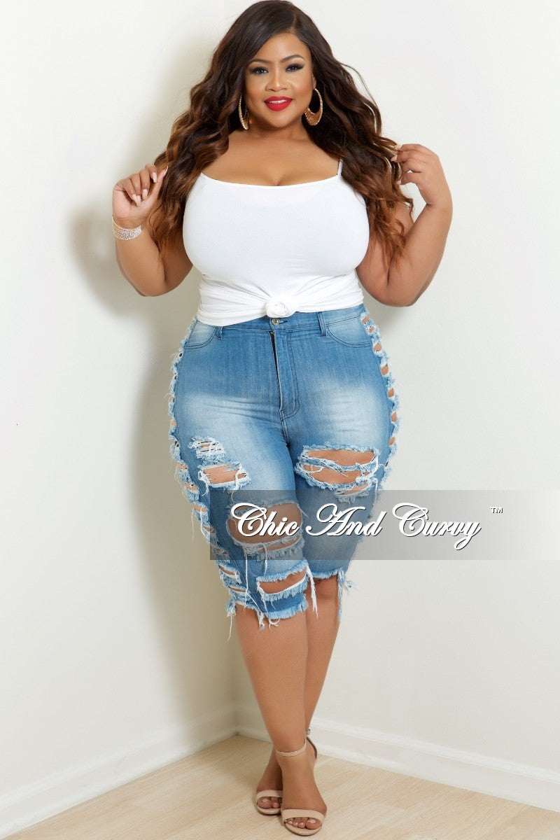New Plus Size Destructed Bermuda Shorts with side rips in Light Denim