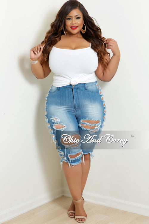 Final Sale Plus Size Destructed Bermuda Shorts with side rips in Light Denim
