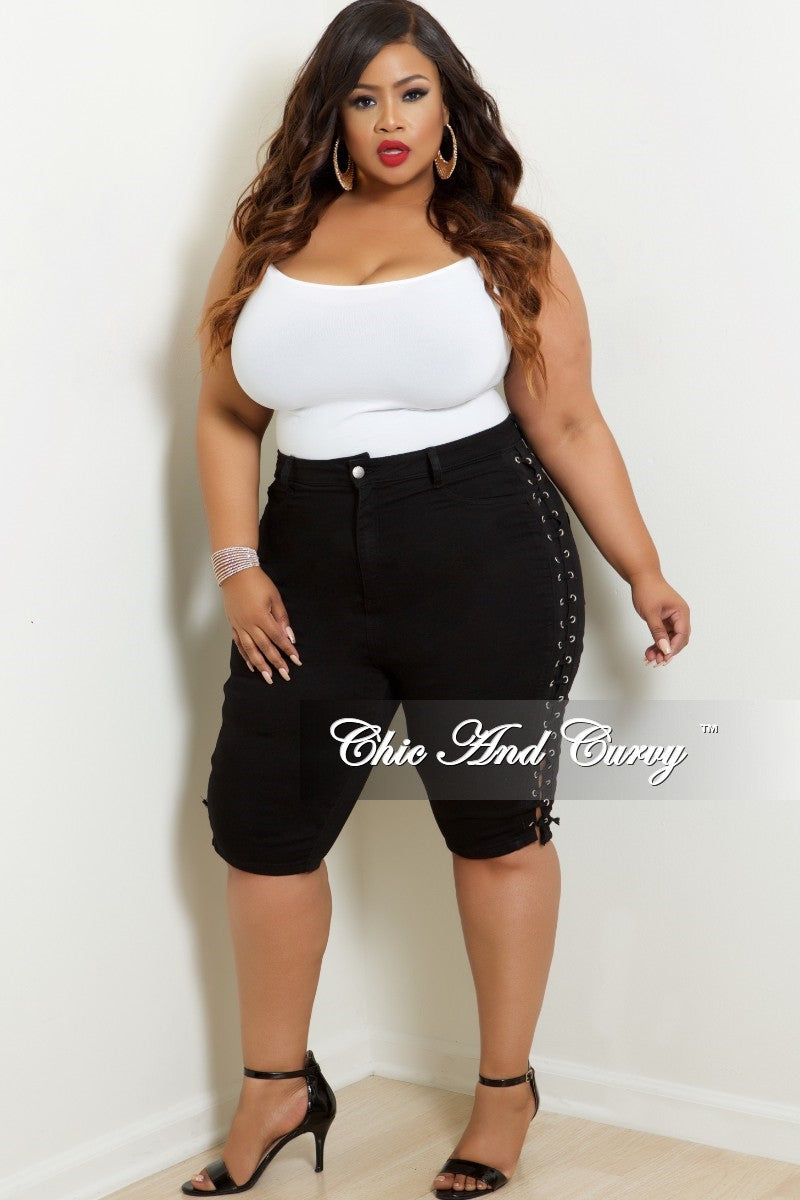 New Plus Size Bermuda Shorts with Lace-Up Sides in Black