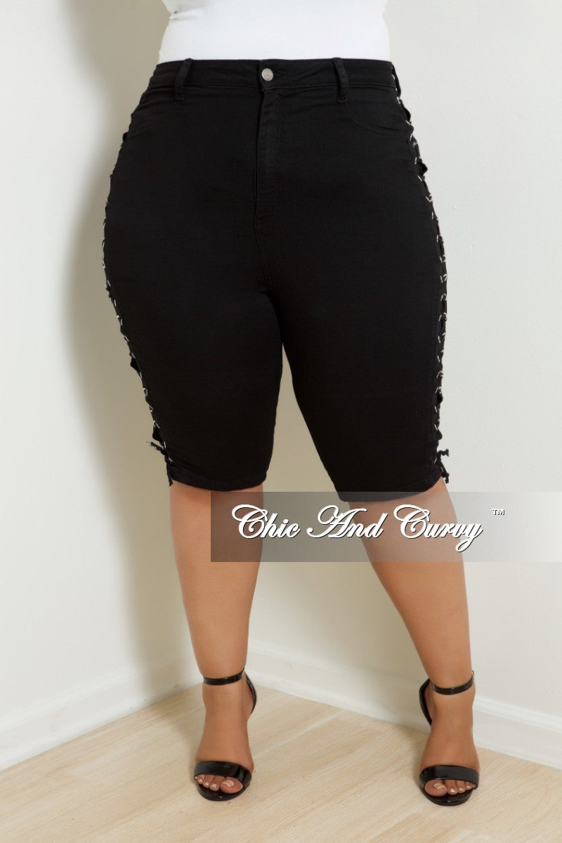 6e467094578 Final Sale Plus Size Bermuda Shorts with Lace-Up Sides in Black ...