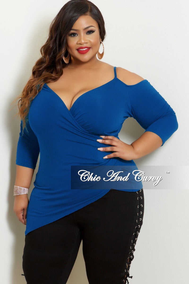 Final Sale Plus Size Faux Wrap Cold Shoulder Top in Royal Blue