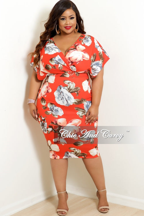 Final Sale Plus Size Faux Wrap BodyCon Dress with Back Gold Zipper in Dark Coral Floral Print