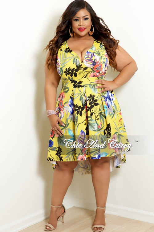 Final Sale Plus Size Sleeveless Deep V-Neck High-Low Dress in Yellow Floral Print